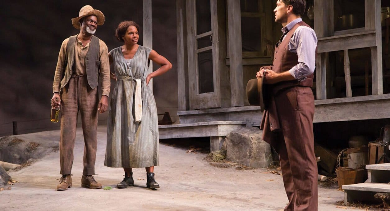 Three actors performing a stage scene near our lodging in North Adams, MA