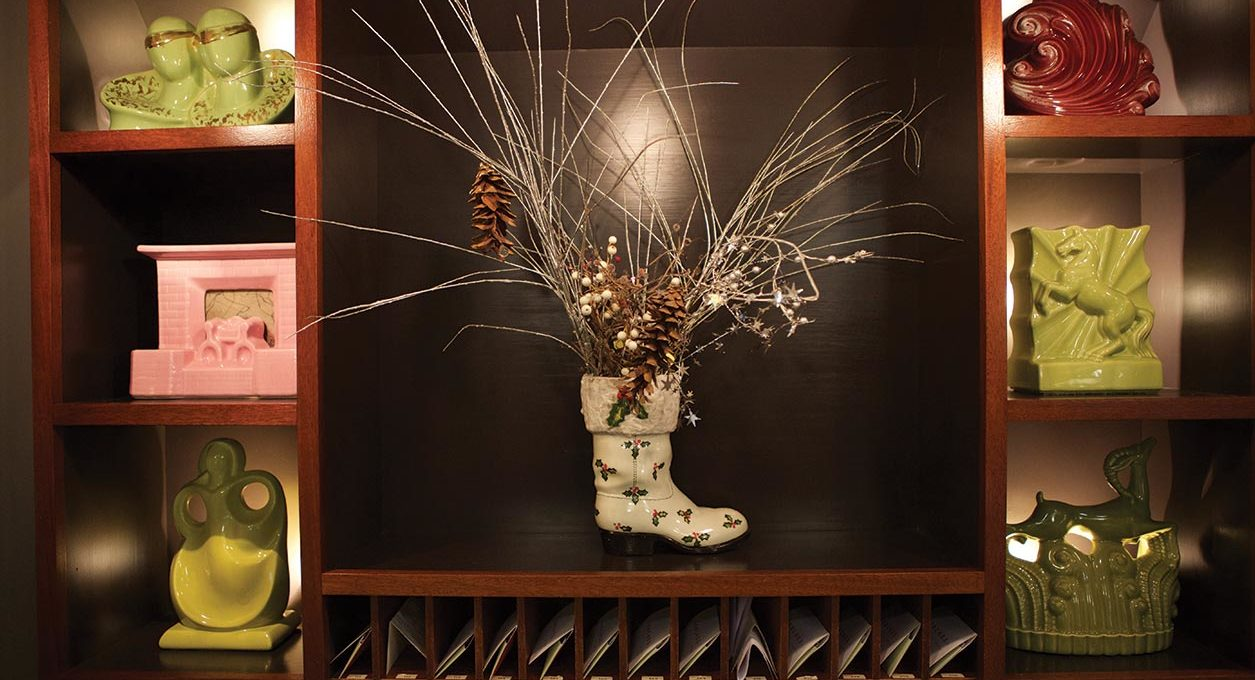 Boot holding dried plants and pinecones at our MASS MoCA hotel